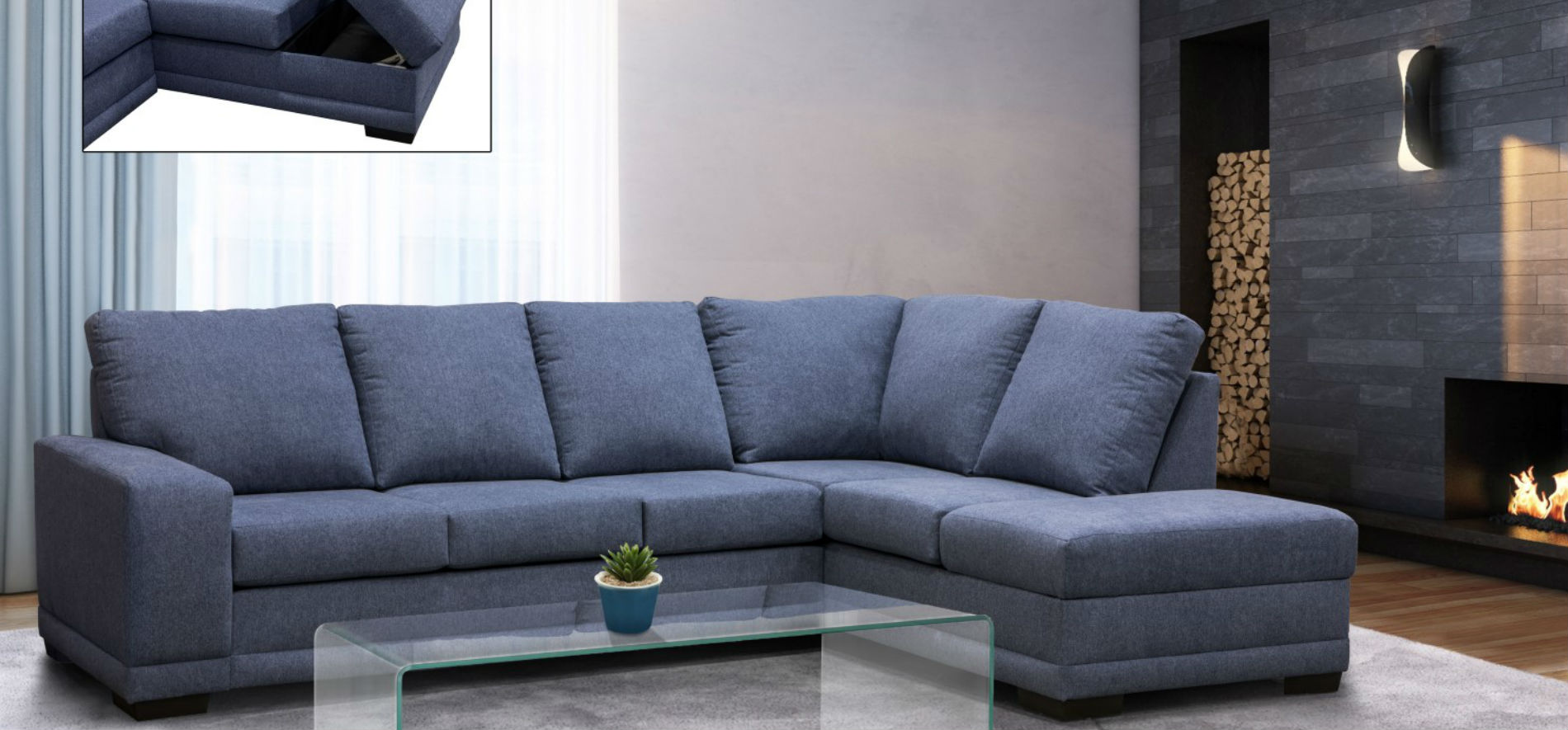 Edimbourg Fabric Sectional 21685 made in Canada