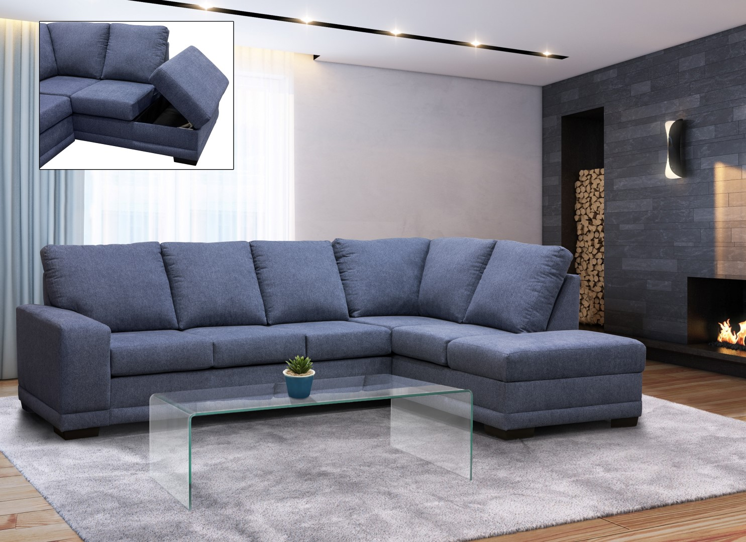 Edimbourg Fabric Sectional made in Canada 21625